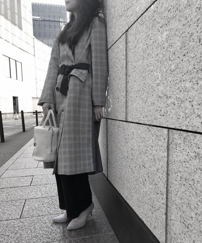 haru's ami Scrap Book 日本製スクラップブック ハルズアミ 有楽町マルイ コート coat 可愛い チェック 春 新作 切替 ベルト付 ひざ下 ダブルボタン アトネックバイ