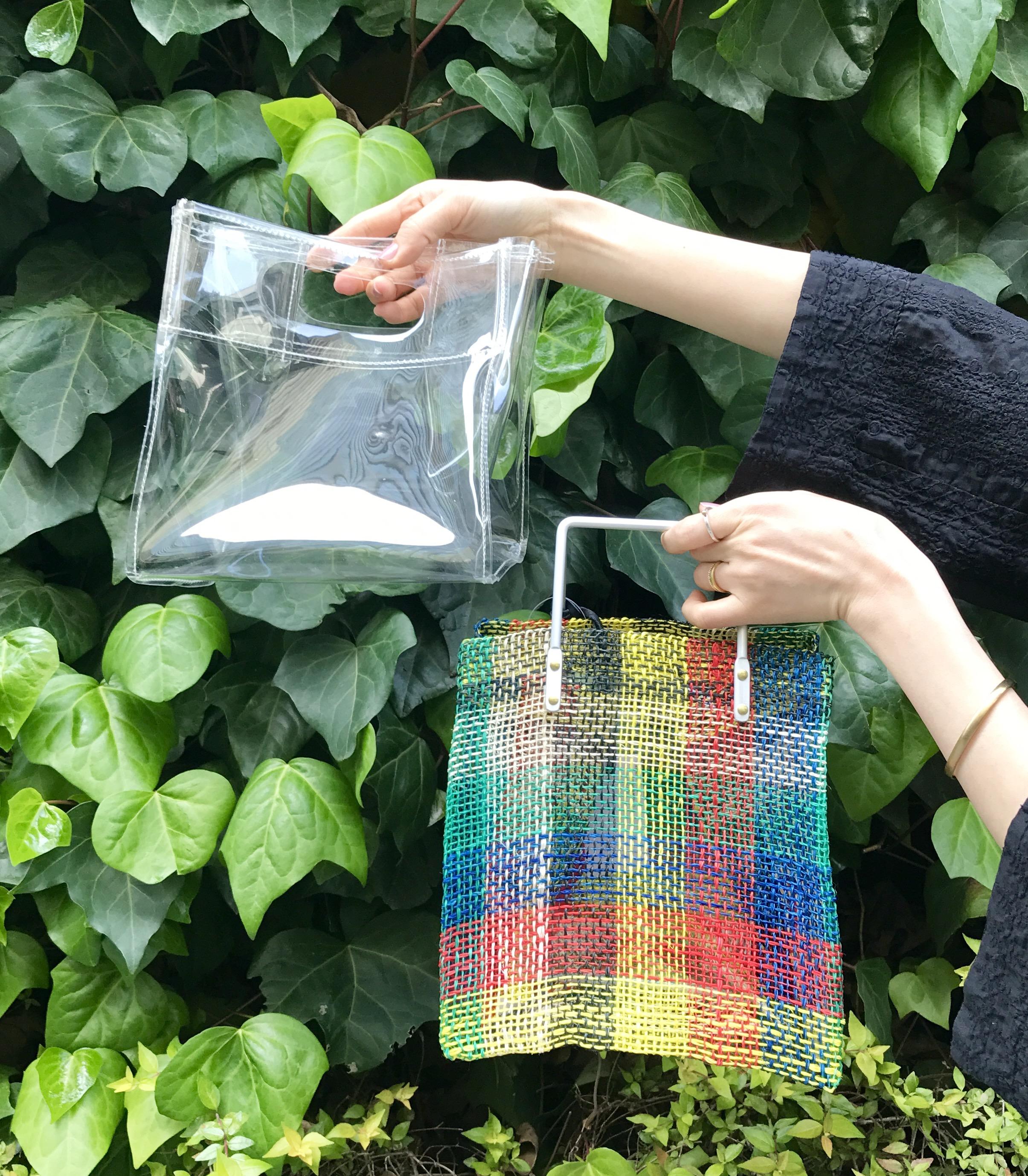 POMTATA Scrap Book pvc アバカ アルミ 有楽町マルイ ポンタタ スクラップブック 可愛い vinyl bag mesh bag ビニールインナー メッシュバッグ チェック柄バッグ 2way bag 日本ブランド