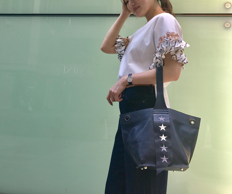 atneK Scrap Book スクラップブック アトネック 有楽町マルイ 可愛い トートバッグ tote bag leatherbag ラムレザー 羊革 星 星刺繍 可愛い 軽いバッグ 日本ブランド