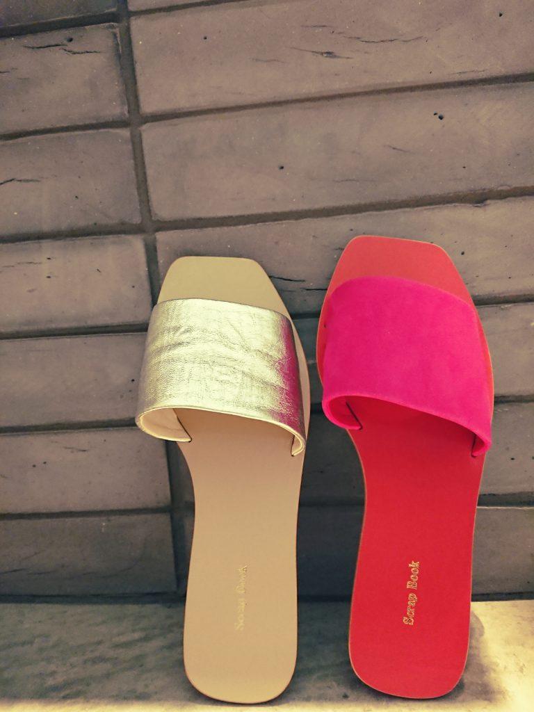 渋谷 渋谷ヒカリエShinQs スクラップブック ScrapBook スクエア サンダル フラット フラットシューズ sandal 羊 革 可愛い 大人可愛い 夏 Summer サマー トレンド キレイめ オシャレ