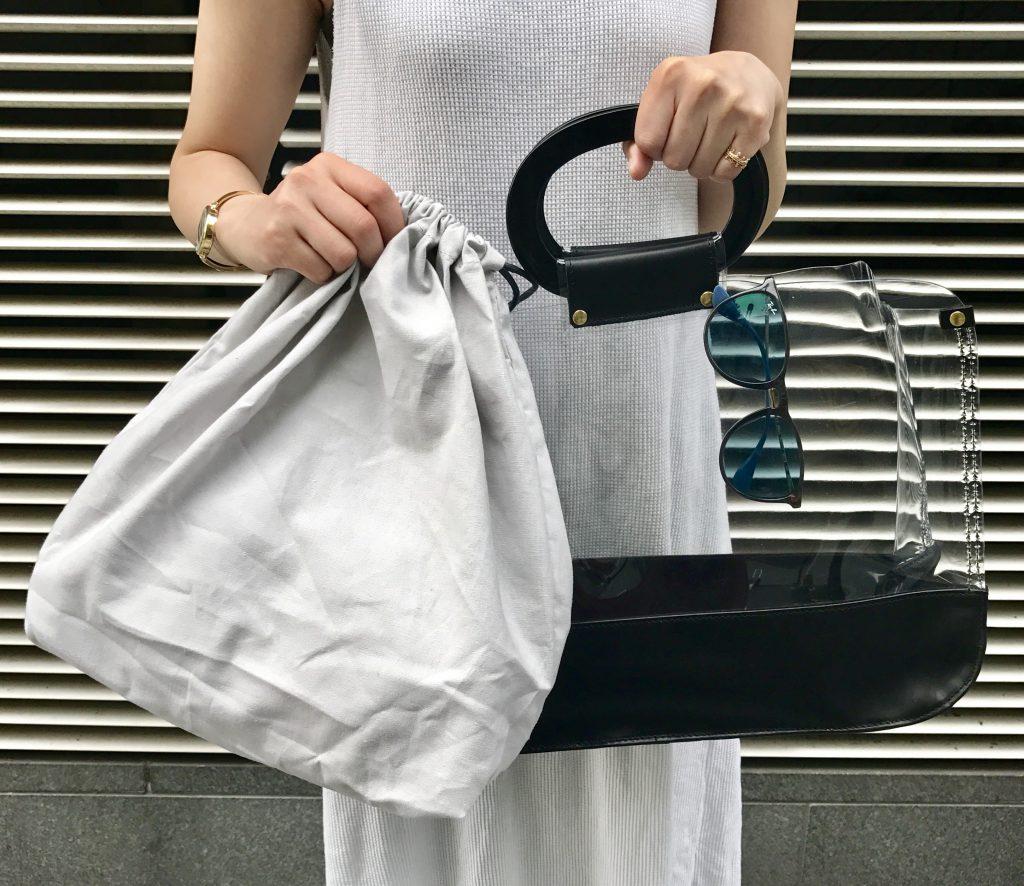 Scrap Book スクラップブック 有楽町マルイ 可愛い vinylbag clearbag ビニールバッグ ビニール×レザーバッグ バッグ サークルハンドル A4サイズ 巾着付き 日本ブランド 夏バッグ
