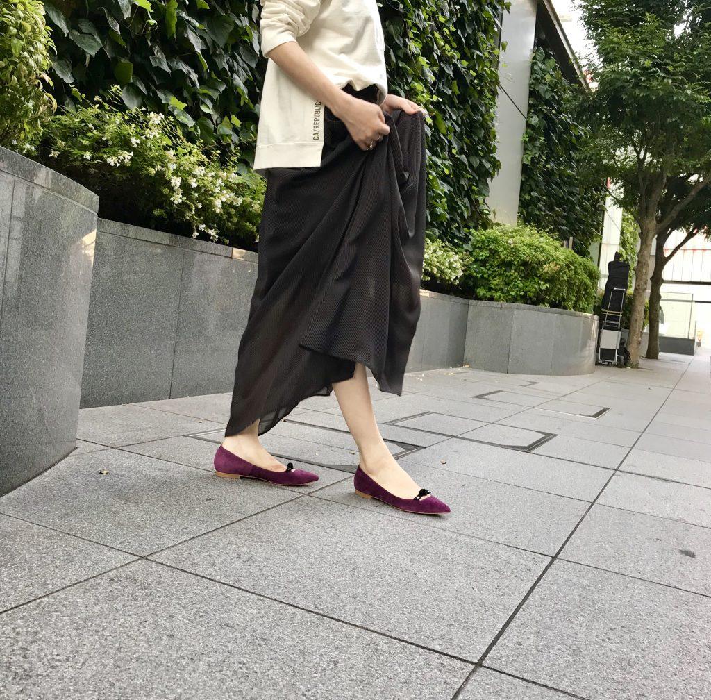 Scrap Book スクラップブック 有楽町マルイ 可愛い 神戸靴職人 日本製 日本ブランド インソールクッション 木型 豚革 リボン付き フラットパンプス flat pumps ポインテッドトゥ
