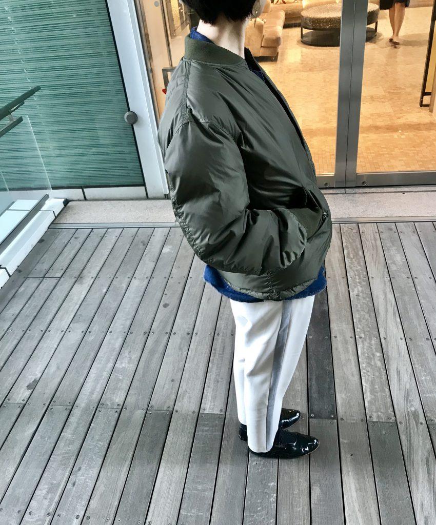 TANAKA タナカ Scrap Book スクラップブック 有楽町マルイ 可愛い MA-1 ブルゾン 日本ブランド フェザー パラシュート素材 日本製 軽いダウン ダウン素材 リバーシブル カーキブルゾン