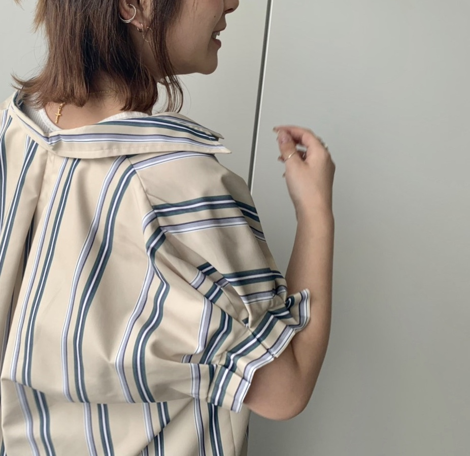 Haru's ami Scrap Book ハルズアミ スクラップブック 有楽町マルイ 可愛い 日本製 日本ブランド シャツ シャツワンピース ワンピース 春新作 春服 半袖 パフスリーブ 綿100 マルチストライプ stripe