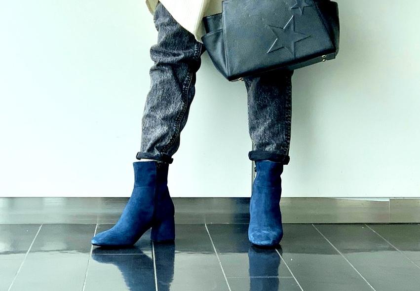 ScrapBook スクラップブック 有楽町 有楽町マルイ FABIO RUSCONI ファビオ・ラスコーニ イタリア 人気 ショートブーツ スウェード ロイヤルブルー ブルー 青 チャンキーヒール 可愛い モード 歩きやすい きれいめ かっこいい SALE セール