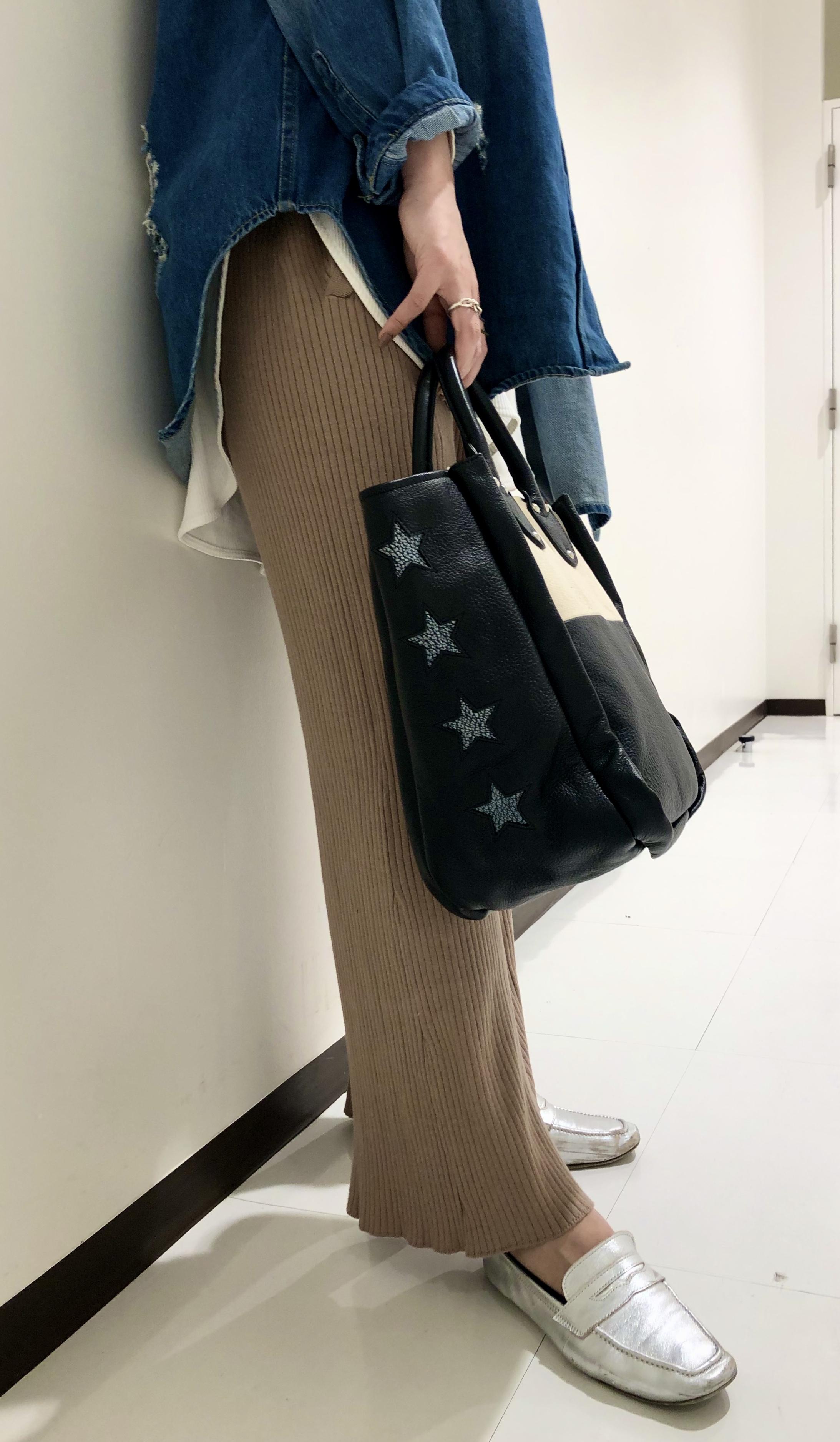 Scrap Book スクラップブック atneK アトネック トートバッグ tote bag キャンバス 牛革 綿 星 スター star ルミネ大宮 大宮ルミネ