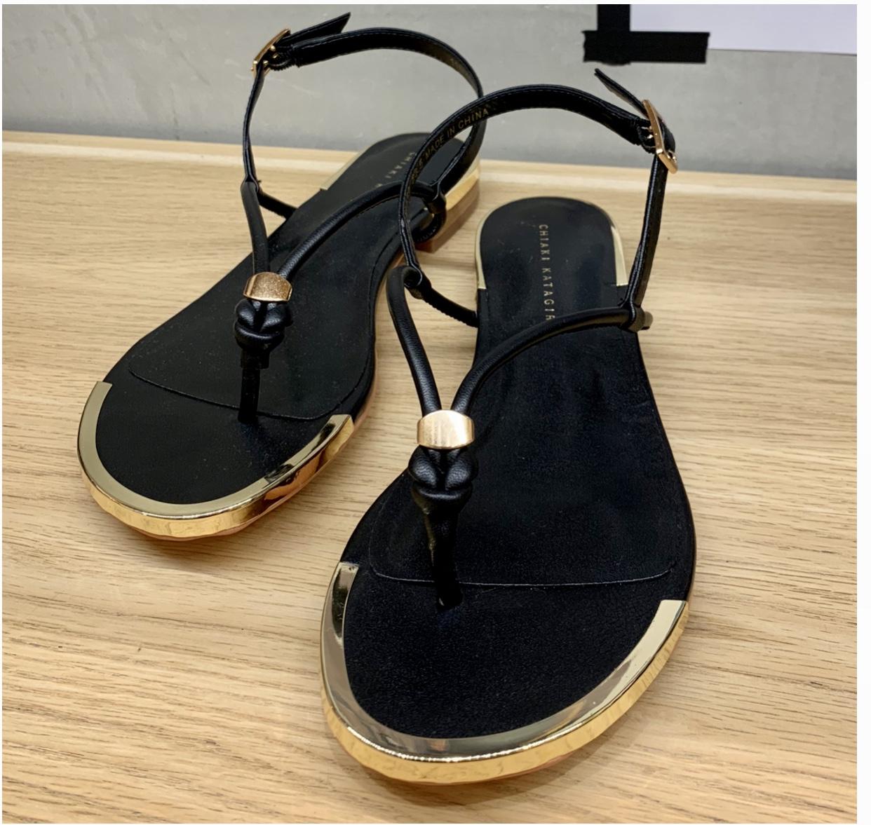 Scrap Book スクラップブック チアキカタギリ 日本ブランド サンダル sandals 細ストラップサンダル ゴールド金具 インソールクッション トングサンダル