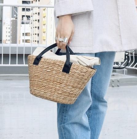 scrap book スクラップブック ハンドバッグ handbag カゴバッグ basket ikot イコット 牛革 PVC素材 別注 gray グレー black ブラック