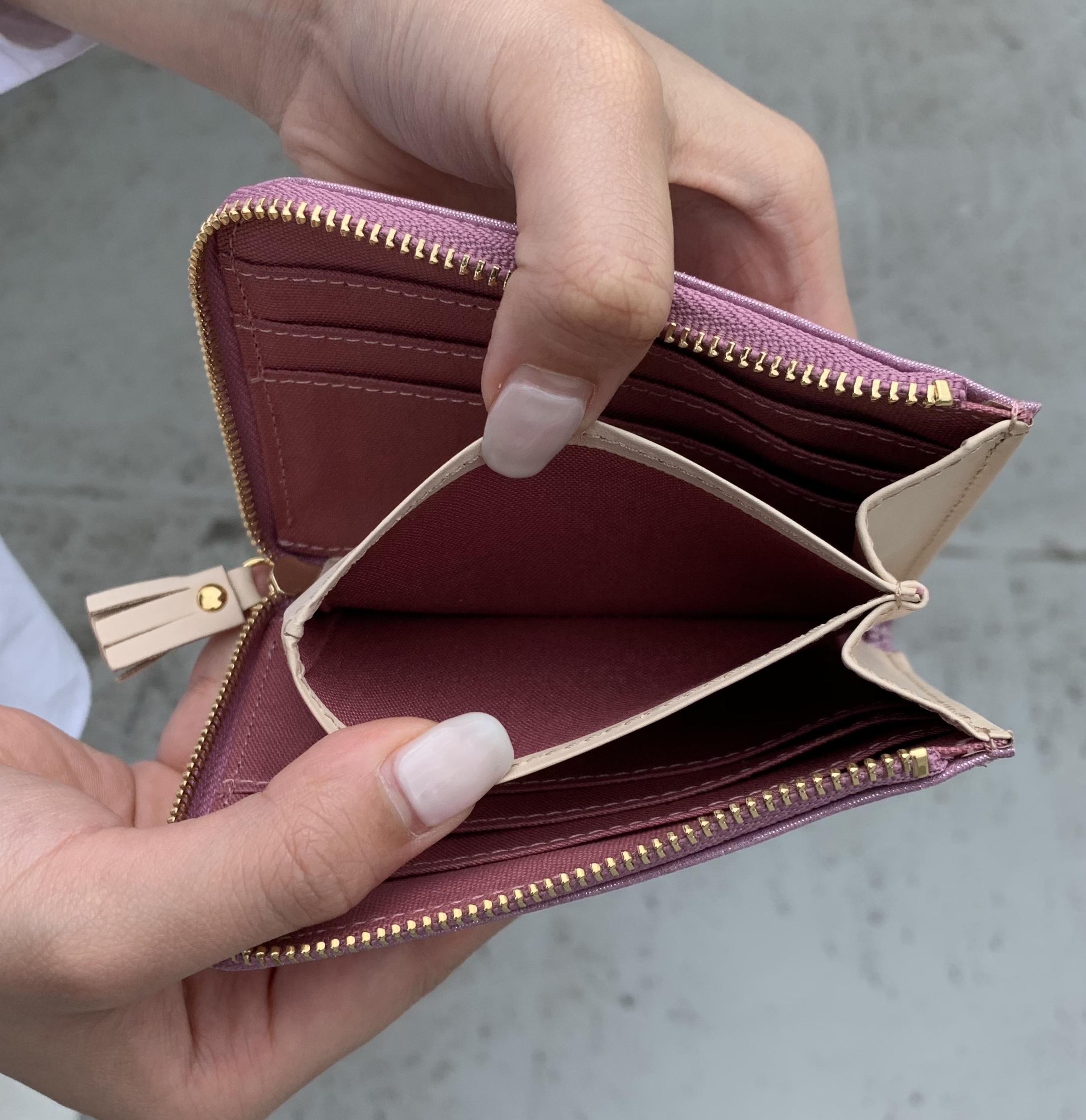 scrap book スクラップブック お財布 財布 wallet Wallet ミニ財布 三つ折り財布 長財布 小さいお財布 ポンタタ POMTATA 日本ブランド 別注 コラボレーション コラボ レザー leather 軽い 薄い 使いやすい 大収納 L字型wallet