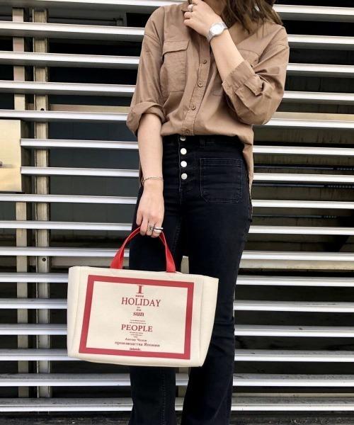 scrap book スクラップブックINTOXIC. イントキシック tote bag トートバッグ デイリートートバッグ ロゴバック logo bag led 赤色 日本ブランド