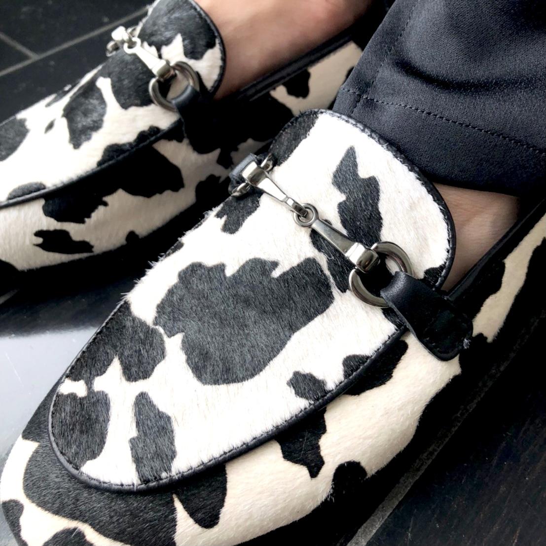 scrap book スクラップブック 有楽町マルイ オリジナルシューズ original shoes  ローファー Loafer  牛柄 ダルメシアン柄 履きやすい 合わせやすい ベージュ beige black ブラック
